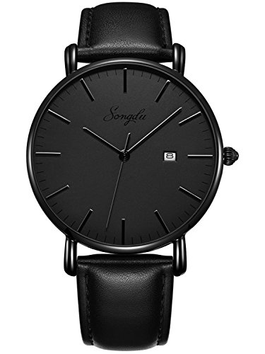 SONGDU Herren Ultra Dünne Elegant Analoge Quarz Armbanduhr (Schwarz)