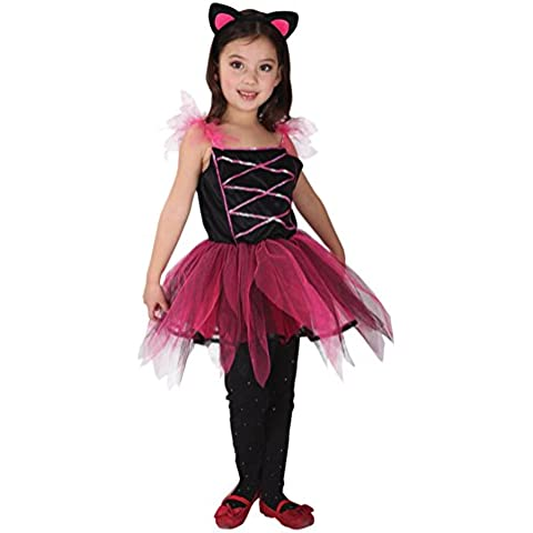 GIFT TOWER Traje de Halloween Disfraz Vestido de Gato para Niñas Busto 58-66CM