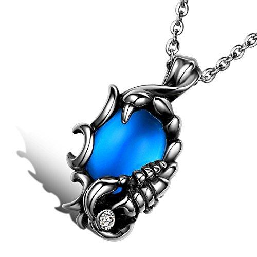 cupimatch Collar de hombre, Gótico Biker Acero Inoxidable Scorpions colgante con azul piedra, 55cm Cadena, azul plata