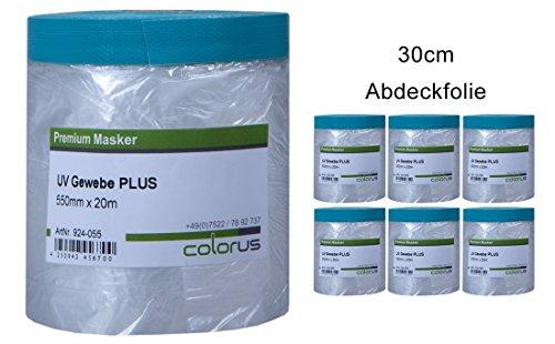 6 x Colorus Masker Tape PLUS UV Gewebe 30cm x 20m Cover Quick Abdeckfolie Abklebeband Maskenband für raue Untergründe