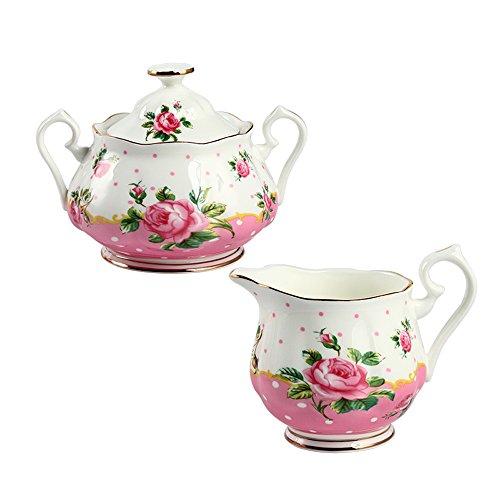Crema y azúcar establece, miracle-house chino porcelana cuenco de porcelana para jarra de leche & azucarero juego de macetas con Graceful diseño de rosas y bandas de oro