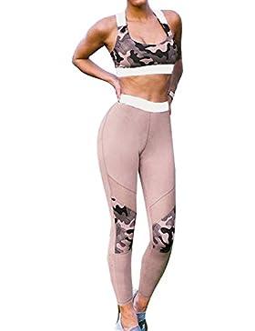 Mujer Dos piezas Ropa de deporte Camuflaje Vestimenta para correr Gimnasio Fitness Workout Corriendo Yoga Equipar...