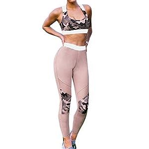 Yying Damen Trainingsanzug Sportanzug Frauen Camouflage Jogginganzug 2 Teiler Gym Fitness Anzüge Yoga Outfit Sport Bra Laufhose Sexy Leggings Joggings Elastizität Sportwear