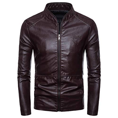 Herren Herbst Winter New Retro Solid Kragen Jacke Pure Long Sleeved Coat Lässige Einfarbige Langarmjacke Aus Leder -