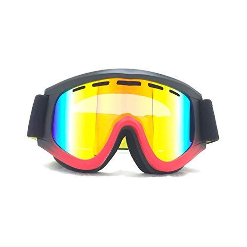 Gnzoe TPU+PC Snowboardbrille Skibrille Zweilagige Anti-Fog PC Objektiv Sandkontrolle Brillenträger Schutzbrillen für Skifahren Schneemobil Skaten/Schwarz Rot