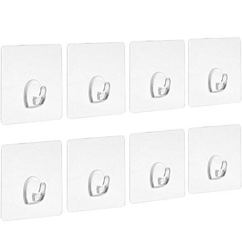 Blulu ganci adesivi chiodo libero pesanti trasparente senza cucitura per cucina bagno parete porta, 8 pezzi