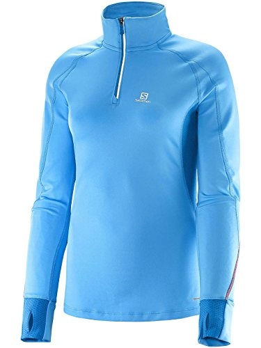 Salomon Trail Runner Warm Women's 1/2 Zip T-shirt Course à Pied - AW15 blue