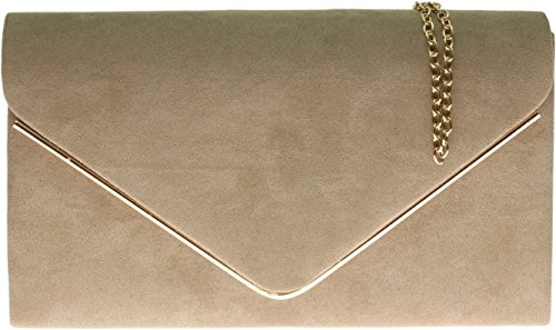 hg-donne-faux-suede-frizione-borsa-busta-metallic-frame-plain-design-khaki