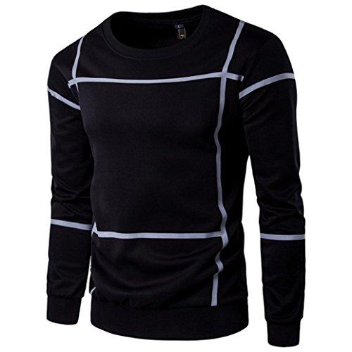 Preisvergleich Produktbild Mens Fashion Striped Langarm Sweater, Kaiki Herren Pullover Mantel O Neck Shirt Outwear (M, Black)