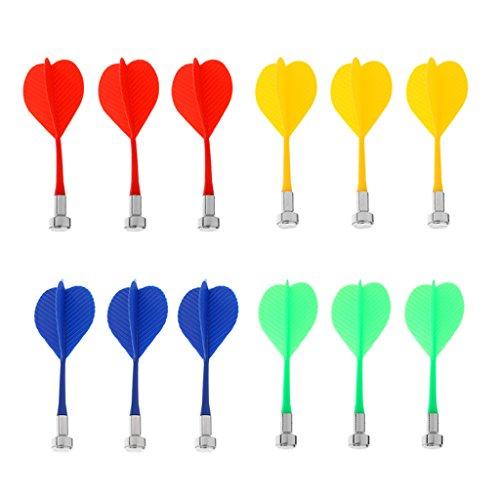 Gazechimp 12 Stück Ersatzpfeile für Magnet-Dartboard - Blau Gelb Rot Grün