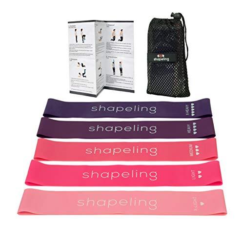 Shapeling Premium Fitnessbänder Set in 5 Stärken mit Trainingsanleitung & Tragebeutel | Widerstandsband für Muskelaufbau, Yoga, Crossfit, Pilates | Theraband Fitnessband Gymnastikband (Pink)