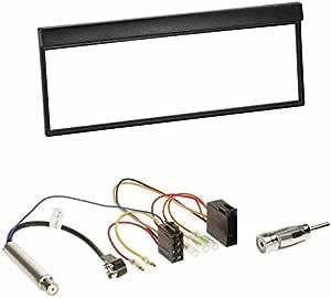 Autoradio 1 Din Blende Einbaurahmen Radioblende Schwarz Iso Radio Kfz Kabel Adapter Radioadapter Mit Phantomeinspeisung