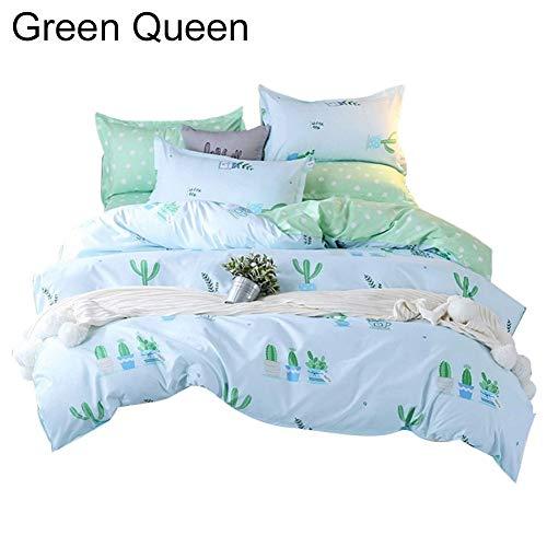JujubeZAO Bettwäsche-Set, Kissenbezug, Frischer Kaktus, Steppdeckenbezug, Bettlaken, Kissenbezüge, Bettwäsche, Heimdekoration für Heimmode Königin (Queen) grün -