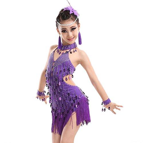 Kinder Latin Dance Ballett Tanzen Mädchen Mädchen Truppe Wettbewerb Kleidung Tanz Kostüm Wettbewerb Lila , (Kostüme Wettbewerb Ballett Der)