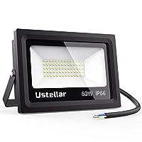 Ustellar LED Floodlights 60W, DEKRA Tested, IP66 Waterproof Outside Flood Lights, 300W Halogen Bulb Equivalent, Outdoor Security Lights, 5000K Daylight White, 4800lm, Garden Landscape Floodlights