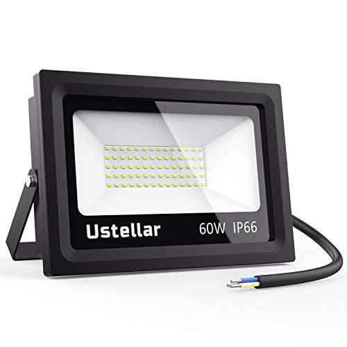 Ustellar 60W LED Strahler außen IP66 Wasserdicht Tageslichtweiß DEKRA geprüft Außenleuchte, 4800lm 5000K LED Außenstrahler Scheinwerfer Fluter ersetzt 300W Halogenlampe für Garten [Energieklasse A+] -