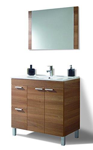 HABITMOBEL Mueble de baño 2 Puertas + 2 cajones + Espejo + Lavabo PMMA (NO Clásica cerámica) envios a baleares