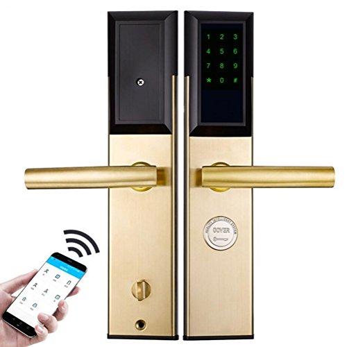 Intelligentes Kennwort-Fern-APP Induktions-Karten-Schlüssel Entsperren Türschloss-Edelstahl-Sicherheits-Hotel-Wohnungs-Haus-Elektronischer Zugangs-Verschluss,Gold