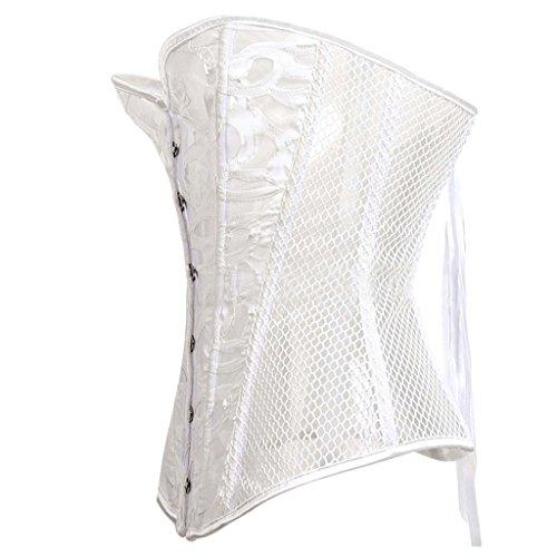Lotus Instyle Frauen Stahlknochen Retro Overbust Korsett Steampunk Bustier White