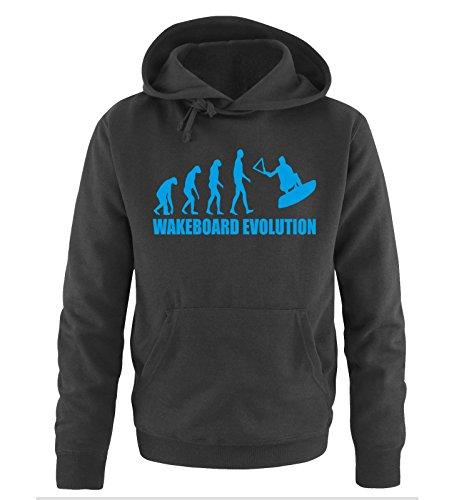 WAKEBOARD EVOLUTION -Herren Hoodie in Schwarz/Blau Gr. M