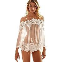 Toamen Lingerie pour Femmes, Poids léger Vêtements de nuit Sous-vêtements Robe + Culotte (Blanc, M)