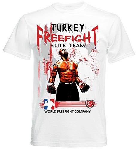 Freefight Türkei MMA - Muay Thai Boxen - T-Shirt - Türkiye Vatan KikboksFF-TR, Weiß, XL