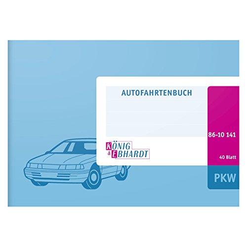 König & Ebhardt 8610141 Geschäftsbuch / Fahrtenbuch für PKW (A6 quer, Karton-Einband, 40 Blatt) hellblau
