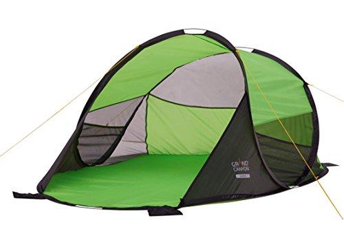 Grand Canyon Waiikiki - Pop Up Strandmuschel / Strandzelt, mit UV40-Schutz, als Sonnenschutz, Windschutz, für Strand, Garten, Camping, schneller Aufbau, grün, 302215