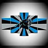 INFANDW Leinwanddruck 5 Panel Leinwand Art Blauer Abstrakter Leopard für Home Wohnzimmer Büro Trendig Eingerichtet Dekoration Geschenk (Rahmenlos) 200 x 100 cm
