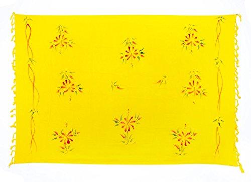Premium Sarong Pareo Wickelrock Strandtuch Lunghi Dhoti Schlicht Blickdicht Tolles Blumen Muster Gelb