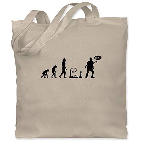 Fan Kostüm Besessen - Shirtracer Evolution - Zombie Evolution - Unisize - Naturweiß - WM101 - Stoffbeutel aus Baumwolle Jutebeutel lange Henkel