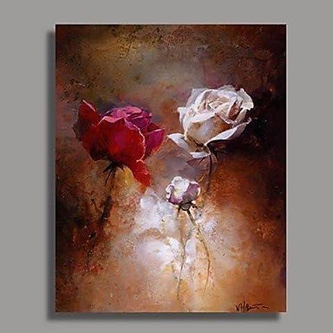 moderna de pintura al óleo de la flor con la estructura alargada Listo para colgar Cuadro en lienzo pintado a