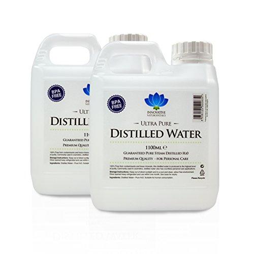 Acqua distillata, 100% pura h2o distillata a vapore, 1100 ml.