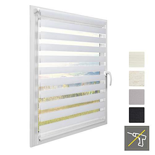 Sol Royal Doppel Rollo für Fenster ohne Bohren Klemmfix SolDecor DL2 80 x 220 cm Doppelrollo Weiß Fenster Vario Duo Rollo & Klemmträger