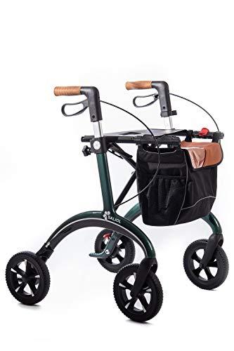 Leichtgewichts Rollator aus Karbon von Saljol mit Soft-Bereifung, Korkgriffe, inkl. Stockhalter und LED Licht, british racing green