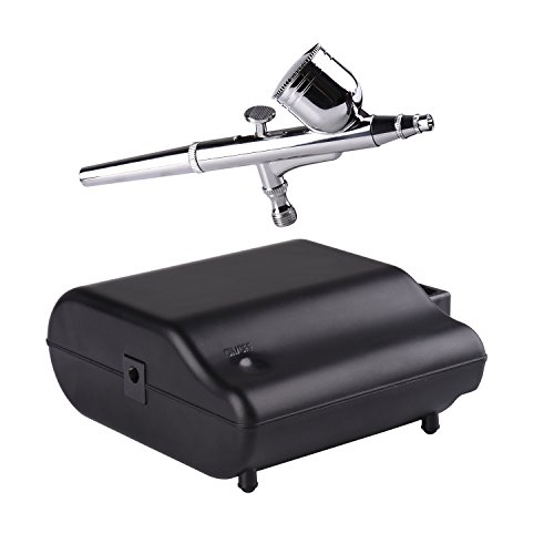 Kormest 100-220V Profi Gravity Double Action Airbrushpistole mit Klein Kompressor Leise Kit zum Kunst Tattoo Make up Naitart Spray Kuchen Torten Modellbau Auto Paint mit Airbrush Reinigung Set¡­