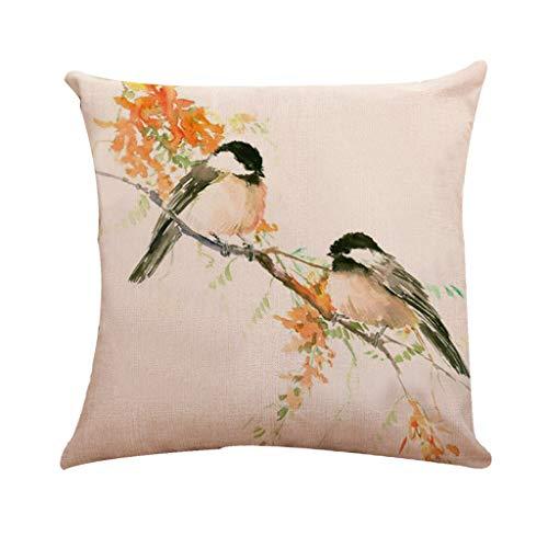 Taie d'oreiller en Lin Coton, Malloom Classique Style Chinois Oiseau Arbre imprimé Housse de Coussin Taille Housse Home Deco