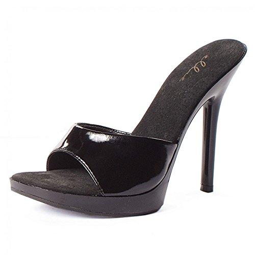 Ellie Shoes - Mules à talons aiguilles Vanity en grande pointure Noir verni (BLKP)