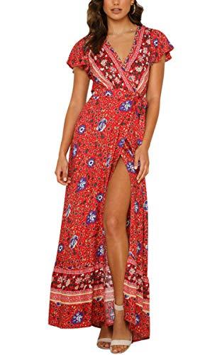ECOWISH Damen Kleider Boho Sommerkleid V-Ausschnitt Maxikleid Kurzarm Strandkleid Lang mit Schlitz Rot M
