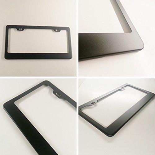 License Plate Frame Holder (Matte Black Powder Coated 100% Stainless Steel License Plate Frame Holder Tag by laser pro inc)