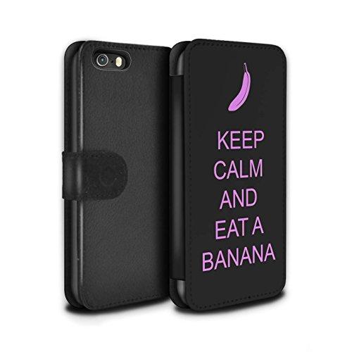Stuff4 Coque/Etui/Housse Cuir PU Case/Cover pour Apple iPhone SE / Boire du Thé/Bleu Design / Reste Calme Collection Manger une Banane/Rose