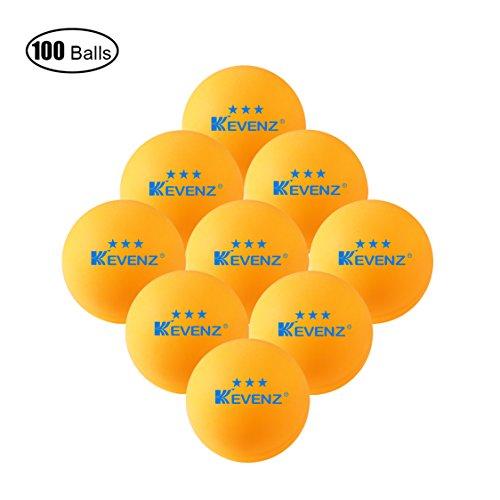 100pezzi kevenz 3stelle esercizio tavolo Tennis Ball durevole palle da ping pong (Arancione, Bianco), Orange, 40mm