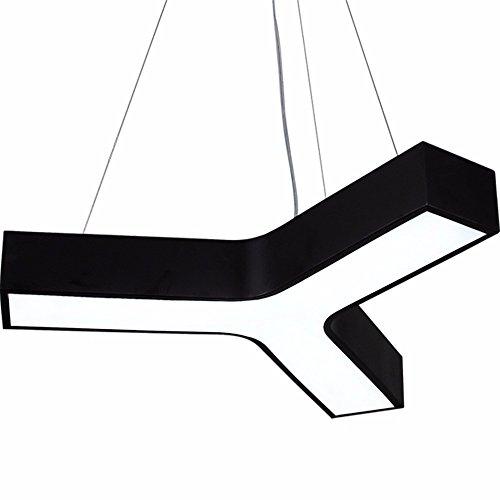 SQIAO Moderne LED-Pendelleuchten Office Kronleuchter Zimmer Y Wort fischgrat Lampe schwarz weiß Kronleuchter, 75 * 32 CM Drums Das Wort