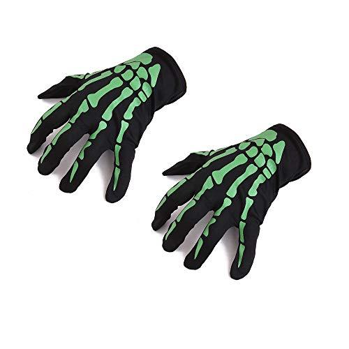 HIGGER Guantes de Esqueleto de 1 par, Guantes de Halloween de Dedo Corto para Brazo Corto para Cosplay Party