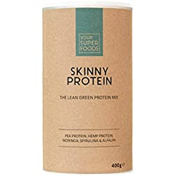 Your Superfoods Skinny Protein Superfood - Bio Vegan Pulver Mix Mischung Smoothie aus Hanfprotein, Erbsenprotein, Moringa, Spirulina und Alfalfa, zum Abnehmen und Regeneration 400g