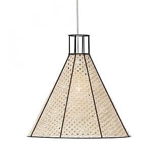 Lampe Suspension Straw Rotin Naturel Armature Noire Serax