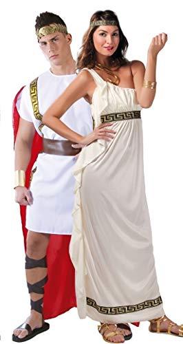 Fancy Me Paar Damen & Herren Römisch Historisch Antike Toga grichischer Griechisch Olypian Göttin Kostüm Verkleidung Outfit groß - Weiß, Mens Large & Ladies UK - Antike Griechische Lady Kostüm