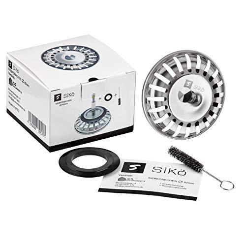 SiKö Siebkörbchen Ø 82mm für Standard Küchenspülbecken und Blanco Spüle - Mit verstellbaren Zapfen für den Exzentergebrauch - Geeignetes Abflusssieb als Blanco Ersatzteil oder Blanco Spüle Zubehör