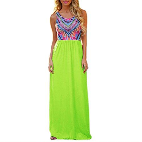 QIYUN.Z Multicolore Imprimee En Tete De Grandes Femmes De L'Ourlet Des Robes Maxi Tunique Longue Sundress Couleur verte