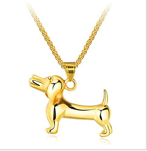 lskette für Herren Pudel Hund Anhänger Gold Kette Länge:55CM ()